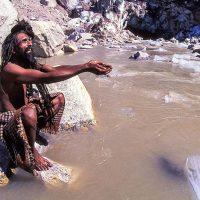 Szadhu India Gangesz folyó forrásánál